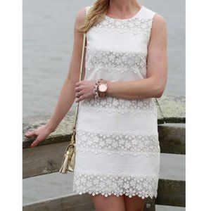 J Crew White Floral Lace Scalloped Shift Dress